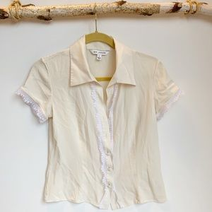 St. John cream button down blouse with lace detail